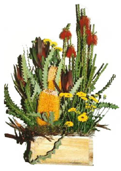 FRESH WILDFLOWERS IN WOODEN BOX ARRANGEMENT