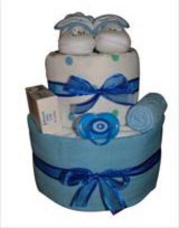 Blue 2 tier nappy cake occasions new baby perth flowers 100 200 negle Images