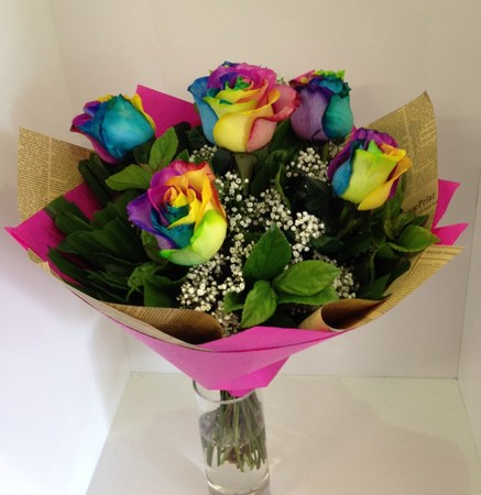 Rainbow Rose 6 Bouquet - Flowers - Bouquets - Perth Flowers Delivered