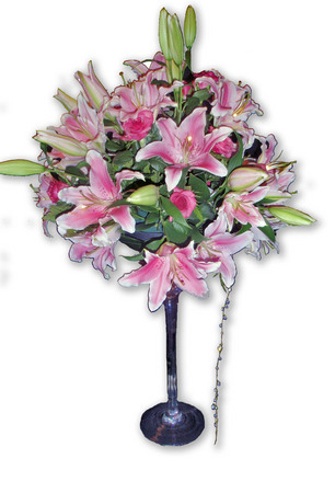 Pink Lillies And Roses In A Martini Vase