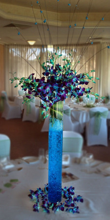 Blue Orchids In Vase Occasions Table Centerpieces Perth Flowers