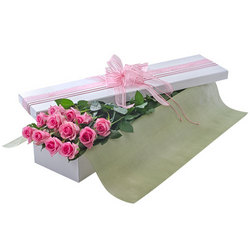 A dozen pink roses in a presentation box