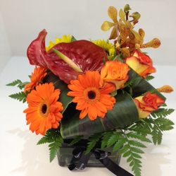 Autumn Glass Cube Arrangement