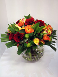 Autumn Fish Bowl Arrangement