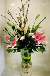Pink Oriental Lilly Urn Vase Arrangement