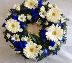 Blue and White Round Wreath with Ribbon
