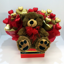 Box of valentines love with teddy