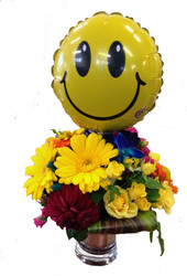 Bright Arrangment with smiley face stick balloon