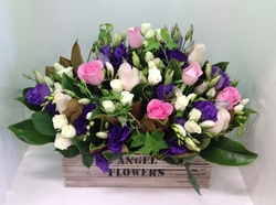 Crate Arrangement in Purples, Whites and Pinks