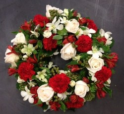 Cream and Red Round Wreath