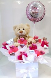 Deluxe Baby Girl Chocolate Bouquet with Teddy and Stick Balloon