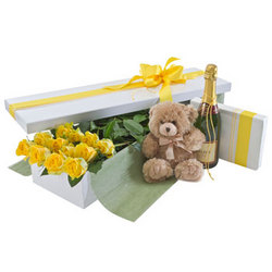 Deluxe Dozen Yellow Rose Presentation Box