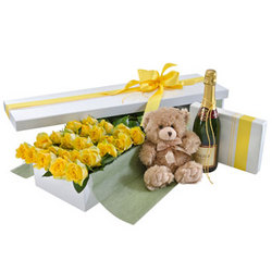 Deluxe Two Dozen Yellow Rose Presentation Box