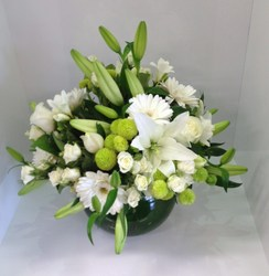 Deluxe White and Green Fish Bowl Arrangement