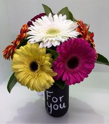 Blackboard Jar of Gerberas