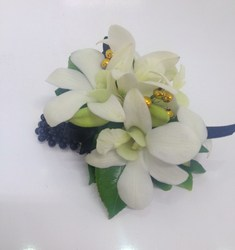 Gold, Black and White Wrist Corsage