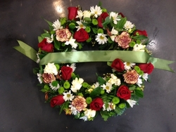 Green, Red and White Wreath with a Green Sash