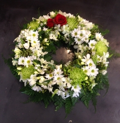 Green and White Wreath with Two Red Roses