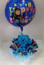 Blue Teddy Favourites With Birthday Balloon
