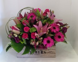 A Pink Crate Arrangement