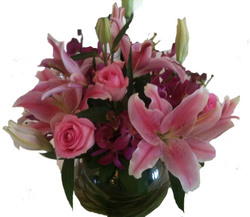 Pink Thank you Fish Bowl Arrangement