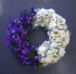 Purple and White Round Wreath