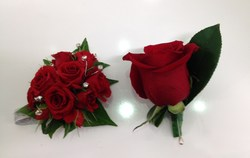 Red Rose Corsage and Matching Buttonhole