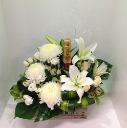 Seasonal White Crate and Moet Arrangement