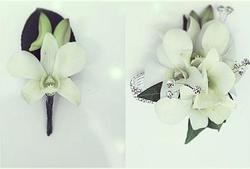 Orchid Corsage on Diamontie Bracelet with Diamonities and Buttonhole