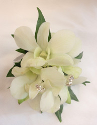 Orchid Wrist Corsage with diamante spriggs