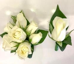 Matching Pair Rose Corsage and Buttonhole