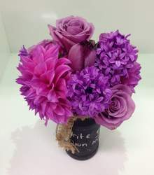 Pink and Purple Blackboard Jar Arrangement