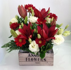 Red and White Crate Arrangement