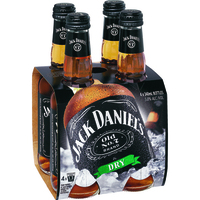 JACK DANIELS and DRY 4 PACK STUBBIES 330ML