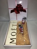 MOET CHANDON N/V GIFT BOX WITH 2 FLUTES and CHOCOLATES