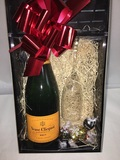 VEUVE CLICQUOT N/V PINE GIFT BOX WITH FLUTE and CHOCOLATES