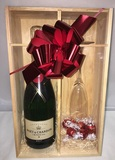 MOET CHANDON N/V PINE GIFT BOX WITH FLUTE and CHOCOLATES