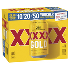 XXXX GOLD CANS BLOCK 30 CANS