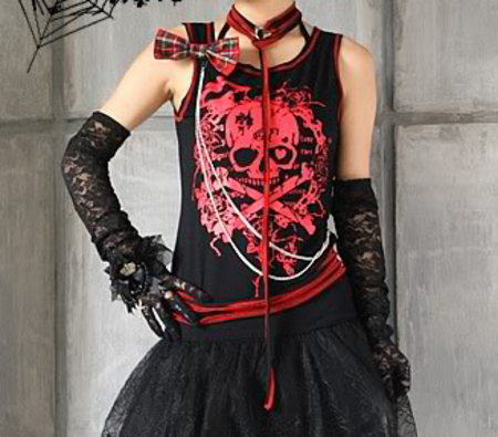 Gothic LOLITA visual kei rock cyberpunk SKULL PRINT DRESS