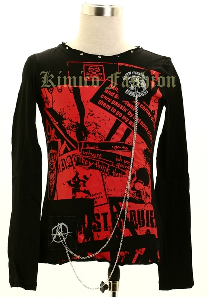 VISUAL-K GOTHIC PUNK PRINTED T-SHIRT WITH CHAINS