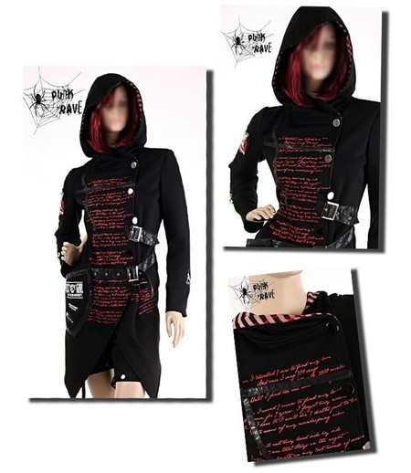 PUNK RAVE - GOTHIC RAVE STEAMPUNK VISUAL KEI STEAM PUNK LONG JACKET WITH HOOD