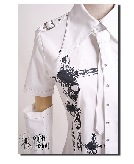 PUNK RAVE - GOTHIC DARK VISUAL K UNISEX PUNK COLLAR SHIRT WITH ARM BANDS WITH SKULL PRINTS