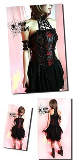 PUNK RAVE - LOVELY Visual K CYBER GOTHIC STEAMPUNK DRESS LACEY FRILLS ATTACHED CHOCKER DRESS