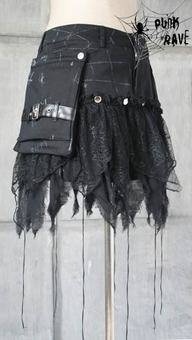 PUNK RAVE - LOVELY Visual K CYBER GOTHIC STEAMPUNK SKIRTS WITH LARGE POCKET