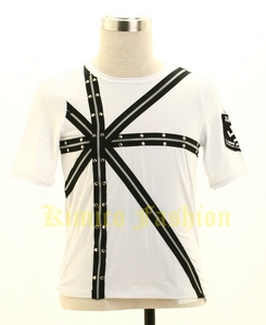 Punk rave gothic white t-Shirt paterrn visual kei rock top
