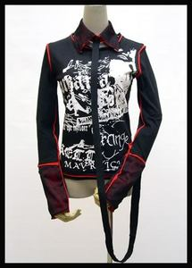 Gothic punk rave UNISEX visual kei rock printed pattern with collar