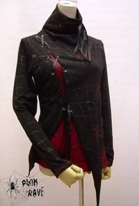 VISUAL-K PUNK HOOD TOP- Black and White - similar to picture on display and not red