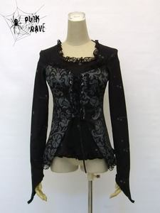 Gothic lolita long sleeve printed pattern lace two layer shirt