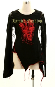VISUAL-K GOTHIC COTTON PUNK SKULL LONG TOP