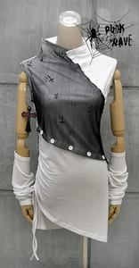 Gothic visual kei rock cyber graphic SLEEVELESS SHIRT WITH ARM BANDS